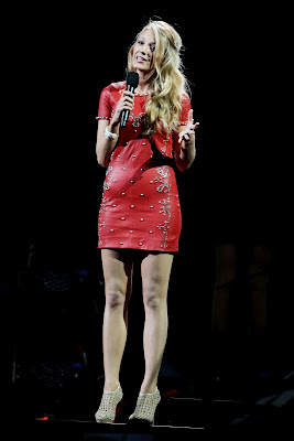 Blake Lively Sexy Leggy Leather Mini Dress in 12-12-12 Concert