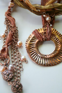 Big Hole Challenge (copper, hand-dyed silk ribbon, freshwater pearls) :: All Pretty Things