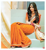Orange Cotton Desinger Saree Collection