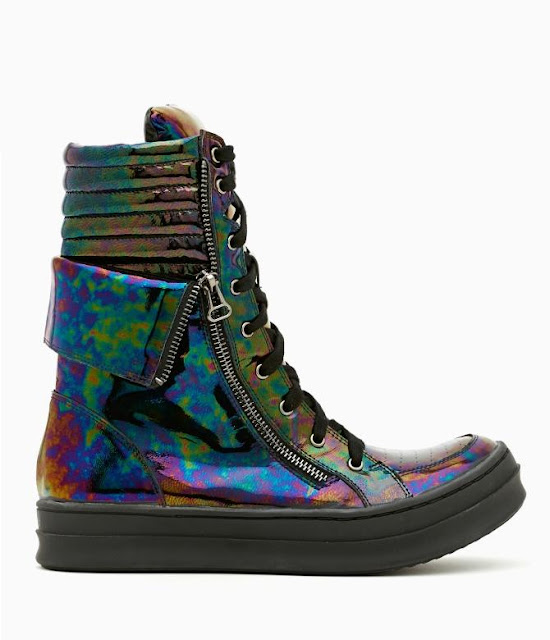 pizza-kei cute pizza kei cute oil slick rainbow bubble fashion look alternative fashion alt-fashion kirk jeffrey campbell nasty gal nastygal sneakers iridescent high top hitops shiny