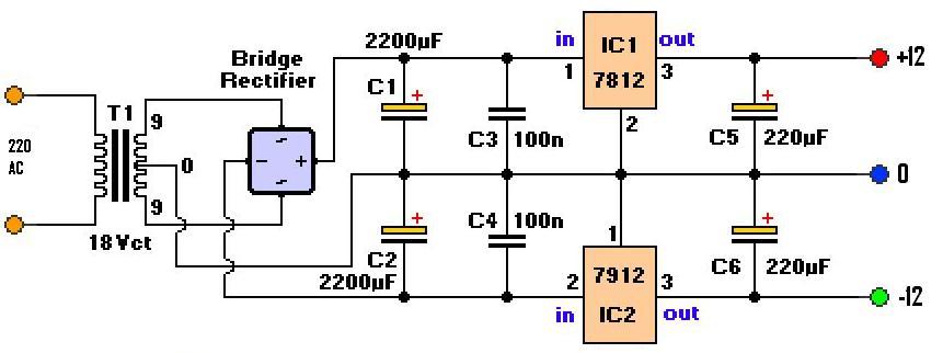 Схема двуполярного стабилизатора напряжения 15 вольт