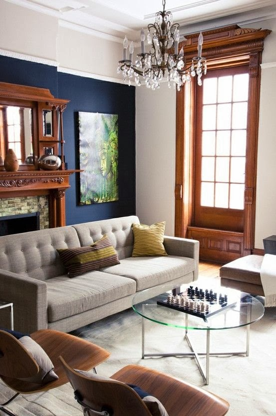 Choosing a color for painting interior walls 1 navy for Living room navy walls