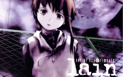 A piece of promotional art for Serial Experiments Lain, showing off the unique art style.