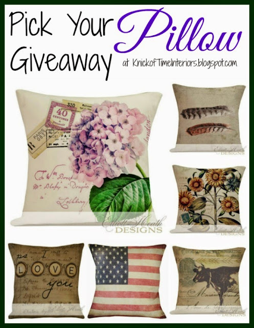 Handmade Graphic Pillow Giveaway from Knick of Time at  knickoftimeinteriors.blogspot.com