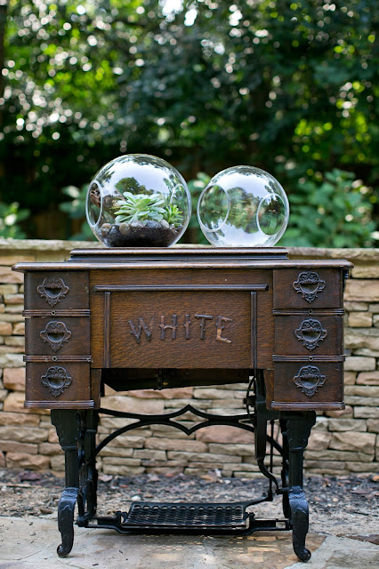 Accent Decor Terrariums with antique sewing table