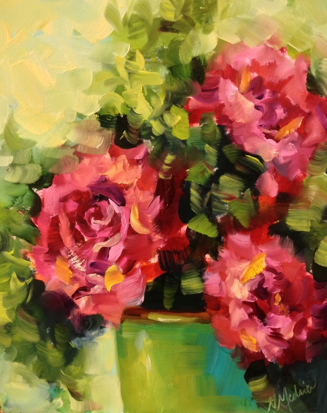 Nancy medina art 05012013 06012013 pink roses and perks of painting at the dallas arboretum by texas flower artist nancy medina mightylinksfo