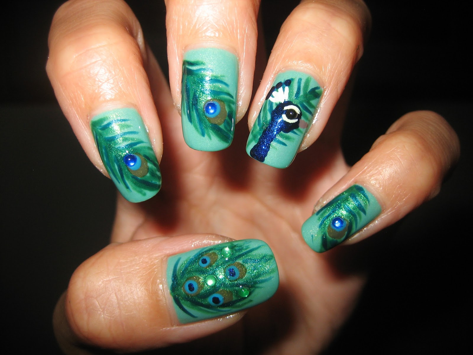 Awesome nails by nicole my most awesome design yet i will list my materials used below but here is the link for the tutorial peacock nail art tutorial prinsesfo Choice Image