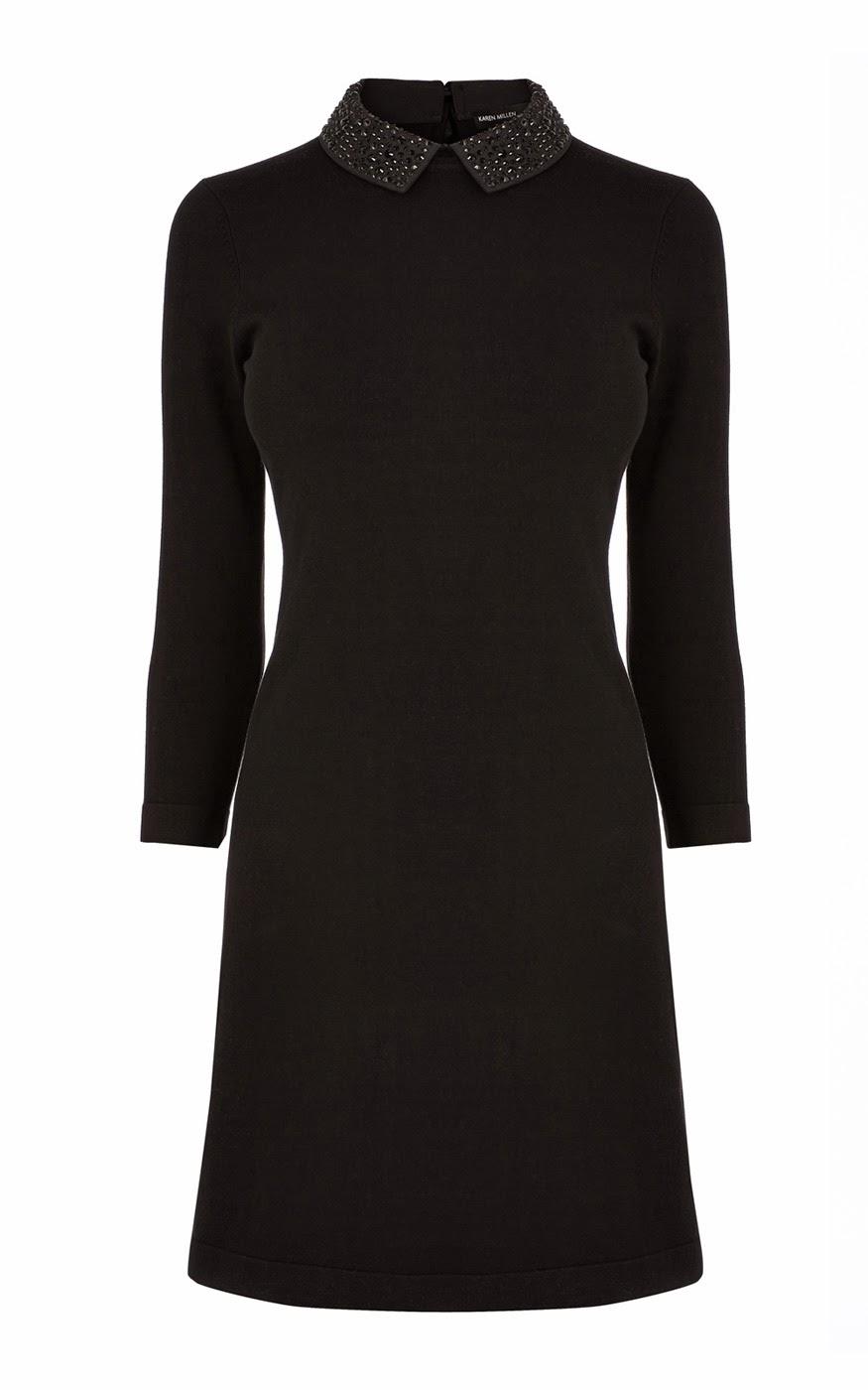 karen millen black collar dress, studded collar black dress,