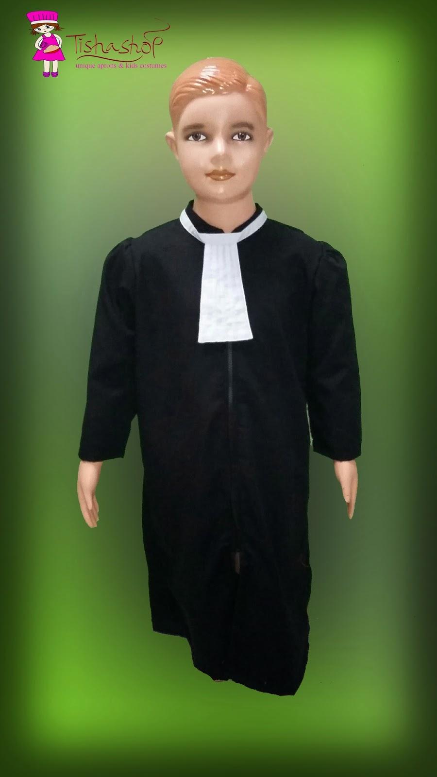 Baju pengacara harga 110rb Jubah dengan bahan oxford warna hitam, lengan panjang, retsleting di depan dan dasi putih (bef) Uk XS lingk bj 76cm, pj 77 Uk S lingk bj 80cm, pj 85 cm Uk M lingk bj 84cm, pj 90 Uk L lingk bj 88cm, pj 95