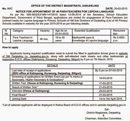 DM office Darjeeling invites applicatio for teachers in Lepcha language