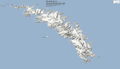 Mapa de Relieve Grande de Las ISLAS GEORGIAS DEL SUR, Antartida, Google Maps
