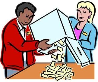 personnes qui vident une urne de vote (dessin)