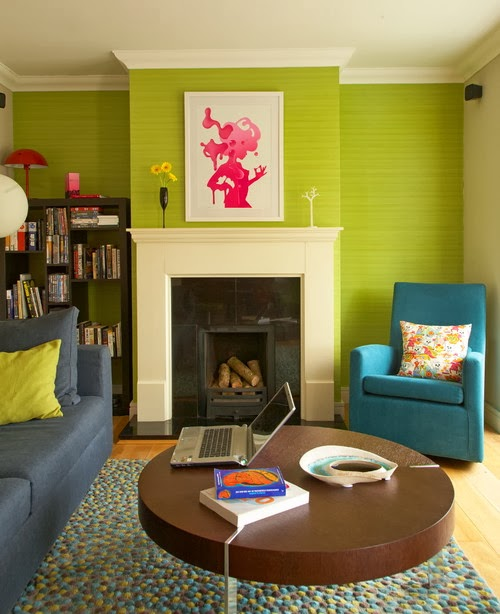 Interior colors combinations 3 lime green aqua blue the grey home for Red and lime green living room