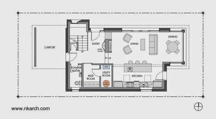 Plano de planta inferior de casa pasiva en Seattle