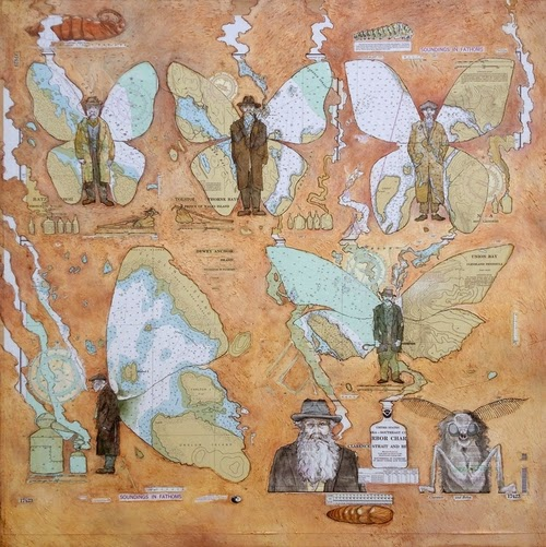 02-Tolstoi-and-the-Hobo-Moth-Artist-Paul-Morstad-Cartographic-Maps-Vancouver-Canada-Collage-Water-Colour-Gouache-Oil-Paints-www-designstack-co