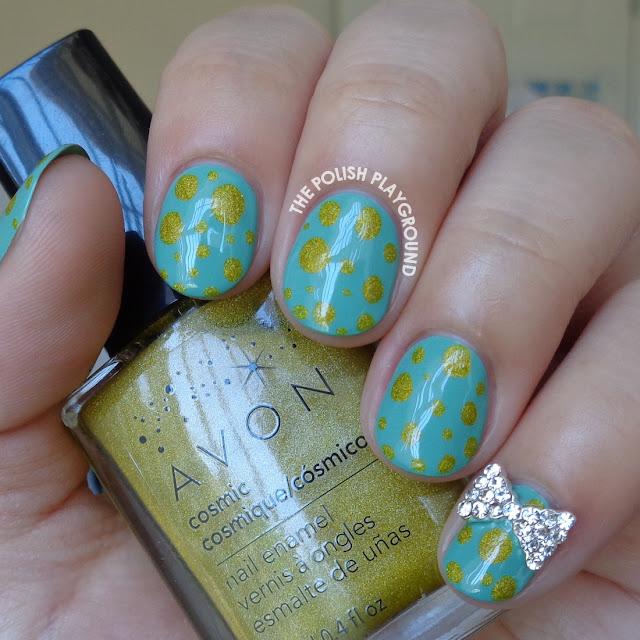 Green and Yellow Mini Blobbicure Nail Art