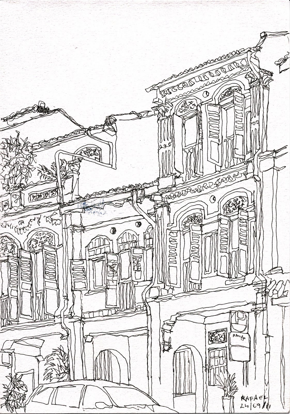 Line Art Building : Urban sketchers singapore continuous line exercise