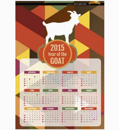 Calendar for the year 2015. Year of goat
