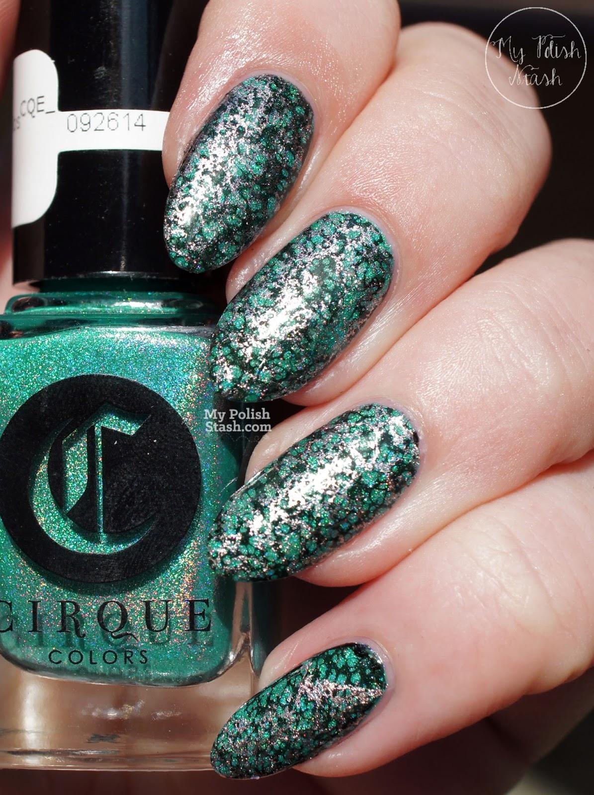 turquoise stone nail design