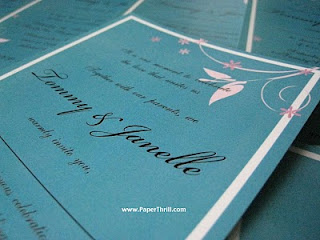 Tiffany blue floral wedding invitation