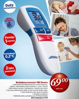 Bezdotykowy termometr Free Novama z Biedronki ulotka