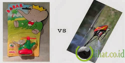Pesawat Mainan Kecil vs Helicopter RC