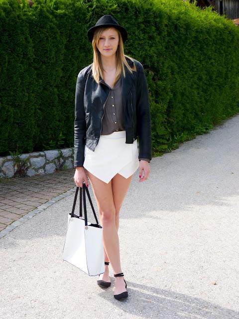 zara white skort, white skort, origami shorts, origami skort, zara shorts, zara leather jacket, leather jacket