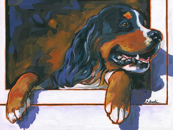 dog painting, Bernese Mountain Dog, Berner