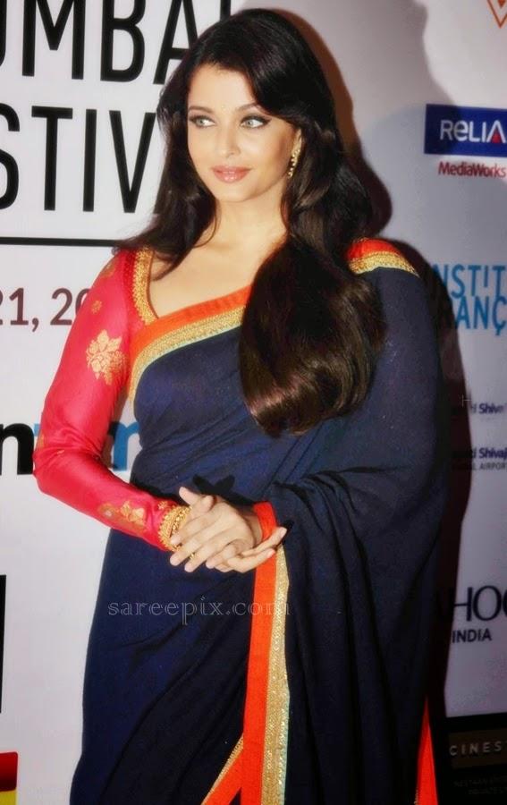 aishawarya-rai-blue-saree-16th-mumbai-film-festival