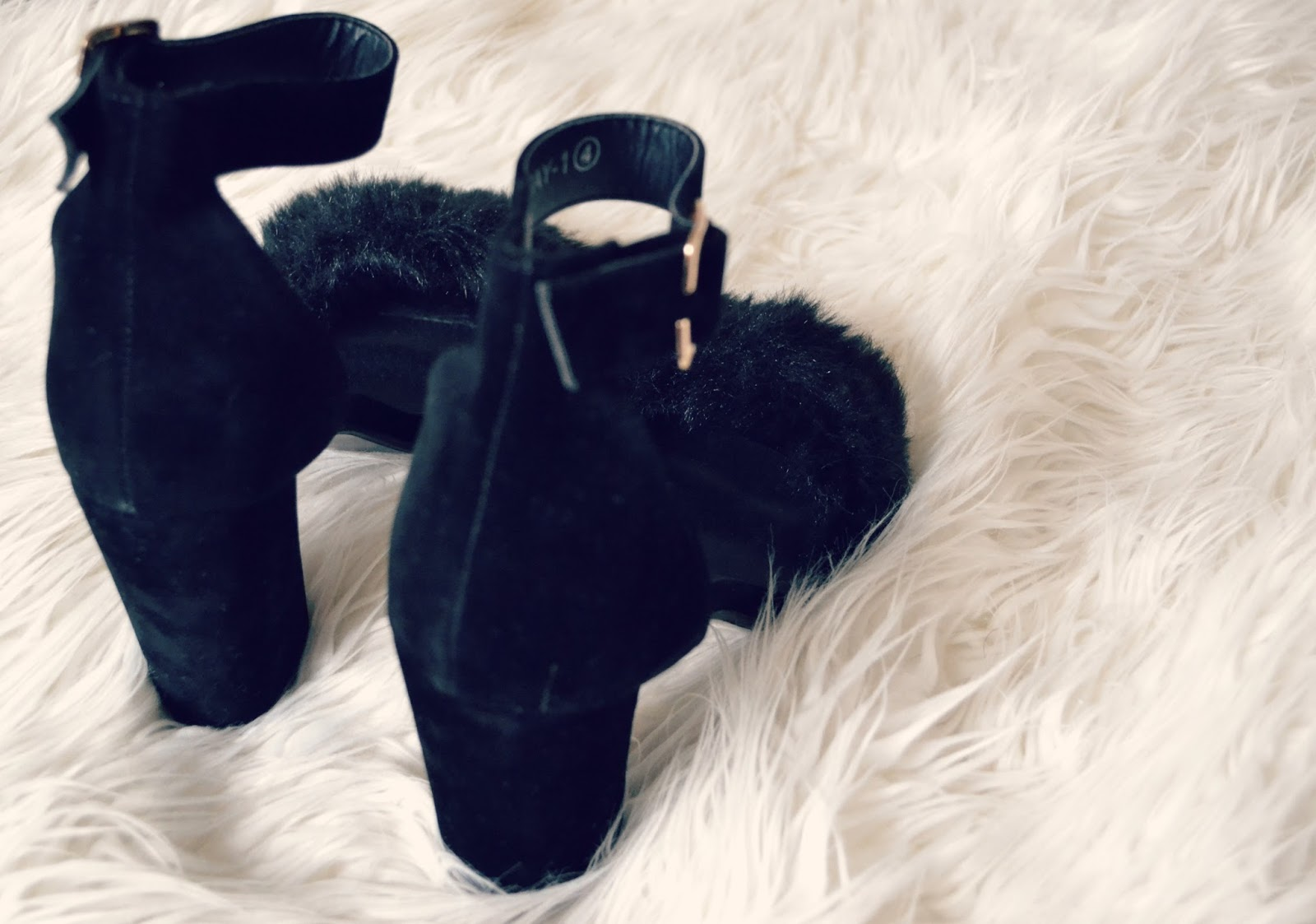 missguided velvet faux fur high heels
