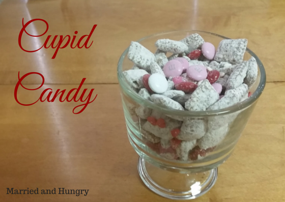 Cupid Candy. A twist to the classic Puppy Chow using cake batter