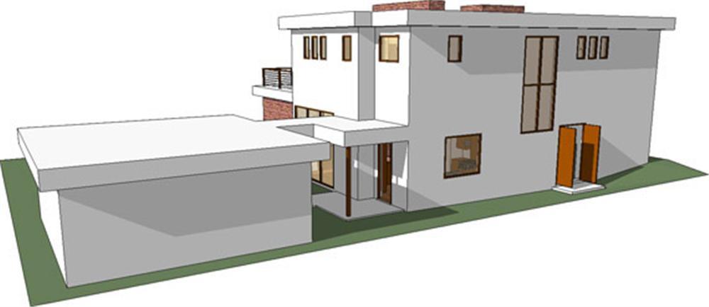 Planos y fachada de casa habitaci n moderna de 2 niveles for Casas modernas planos y fachadas