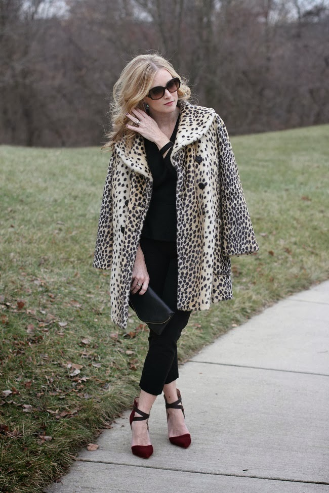 leopard-coat, red-heels, leopard-jacket, envelope-clutch