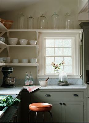 mylittlehousedesign.com glass collection on open shelving in kitchen