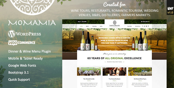 Premium Restaurant Winery WP Theme