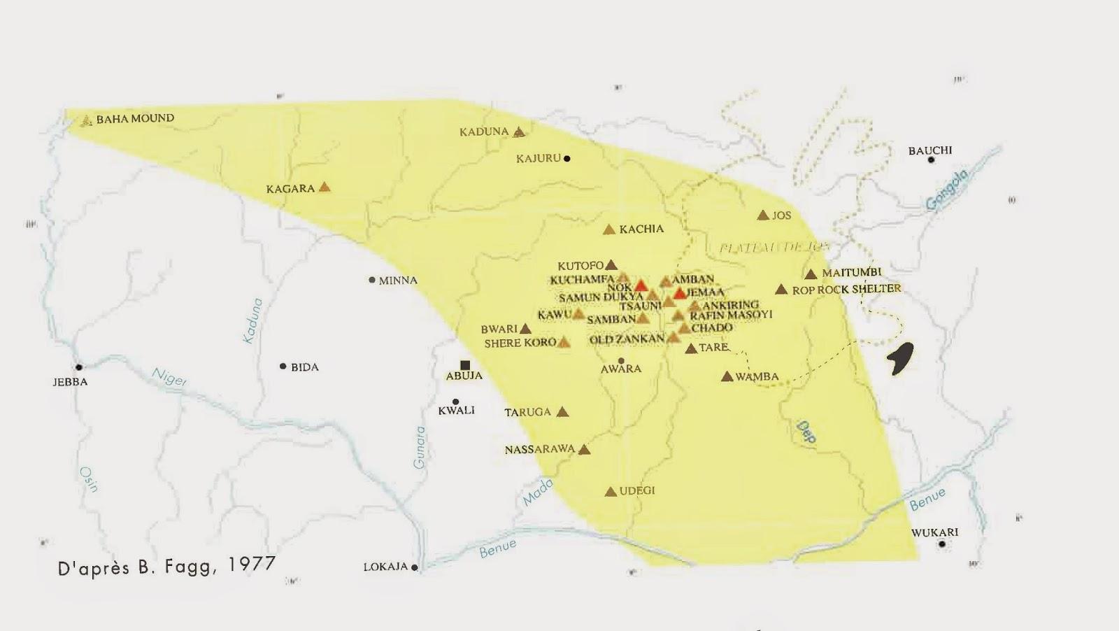 Mapa%2Byacimientos%2BNok Prestel - Los Nok: El Enigma de la cultura más antigua del arte subsahariano: El descubrimiento