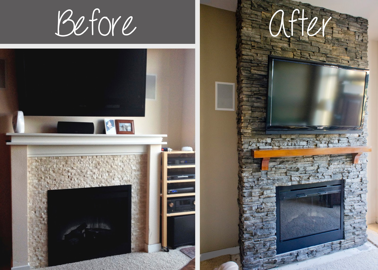 DIY Stacked Stone Fireplace 1600 x 1143