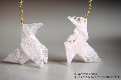 origami boucles d 'oreille dentelle de calais vanessa lekpa evanescentes creations bijoux poétiques romantiques