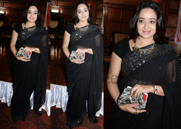 Ananya in Black Designer Saree