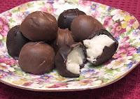 Chocolate candies filled with vanilla cream