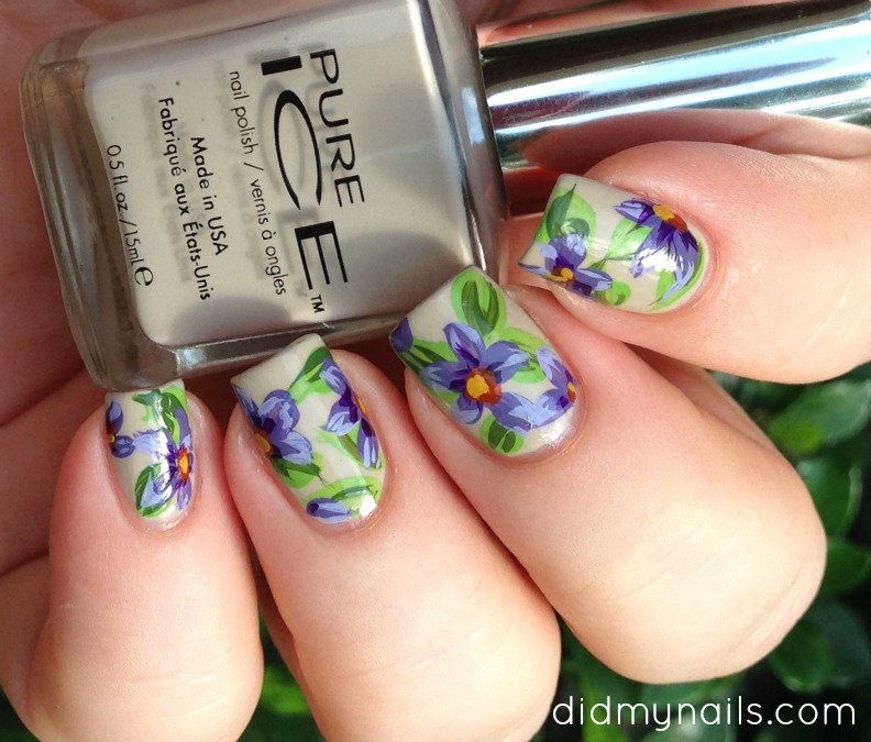 purple nail art flowers