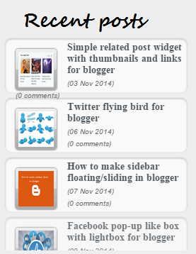 How to add recent posts gadget in blogger