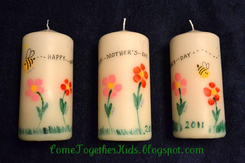 Come together kids mother 39 s day fingerprint candles for Diy candle crafts