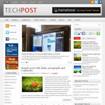 TechPost blog template. magazine blogger template style. magazine style template blogspot.