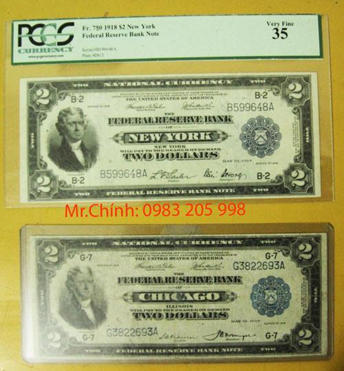 2 USD 1918 mặt trước