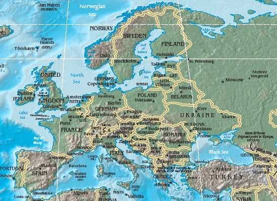 maps of europe countries. Map of Europe Geography