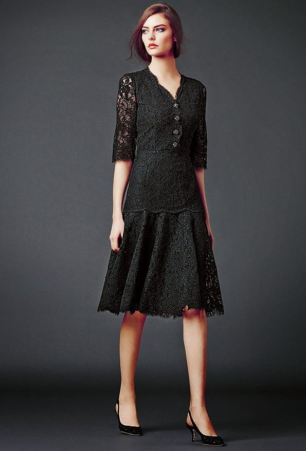 dolce and gabbana black lace midi dress modest maxi dress with sleeves stylish beautiful fashion Mode-sty mormon lds jewish tznius