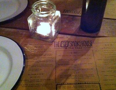 smokehouse menu and candle