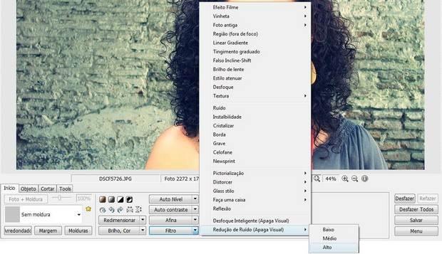 Opção Redução de ruído do Photoscape