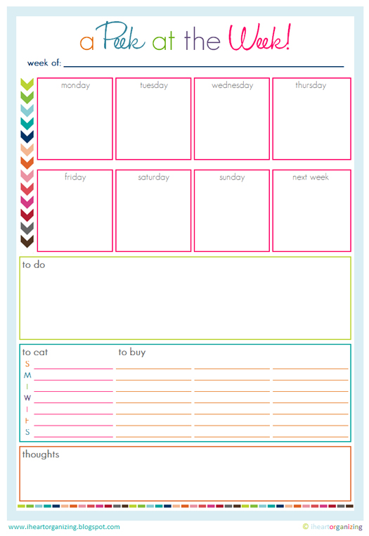 Weekly Calendar With To Do List : Iheart organizing free printables